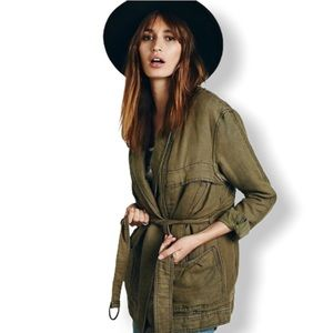 FREE PEOPLE  Green Tie Cargo Jacket Size Small